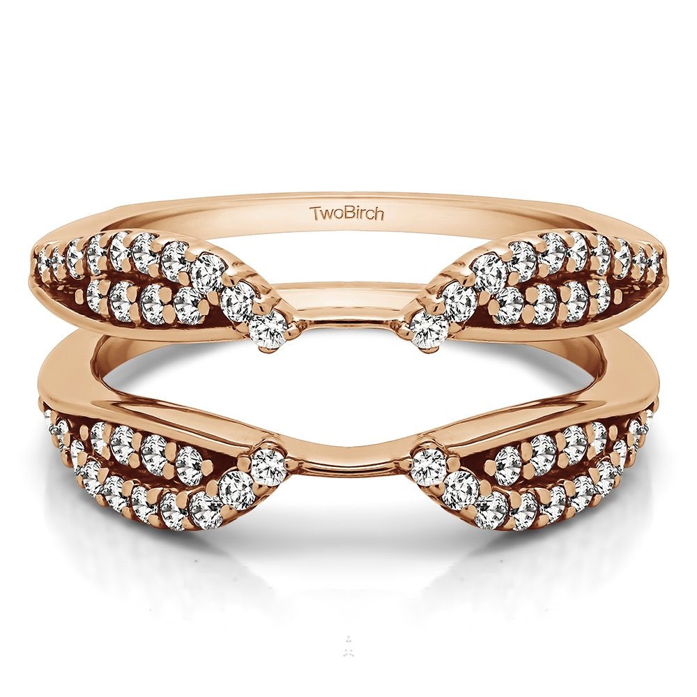 TwoBirch Rose Gold Plated Sterling Silver Cathedral Infinity Ring Guard Enhancer with Cubic Zirconia (0.56 ct. tw.)