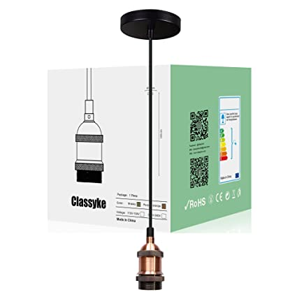 Brass Copper Wire Light Socket Cord Kit Fitting E26 E27 Base Pendant  Hanging Bulb Lamp (