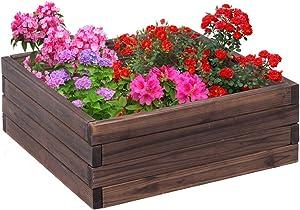Giantex Square Raised Garden Bed Wood Outdoor Patio Vegetable Flower Rectangular Planter 24''Lx24''Wx10''H, Brown