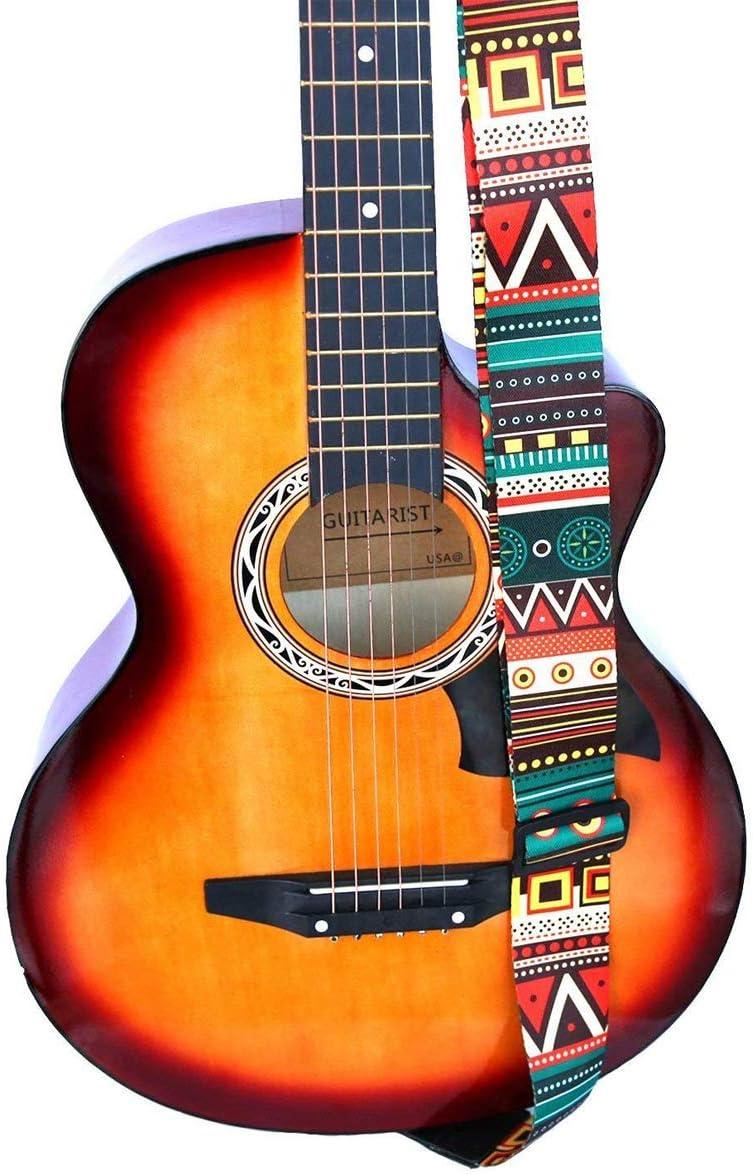 Correa Guitarra Electrica Correa para guitarra, soporte para cinturón de guitarra con extremos de cuero para guitarra eléctrica acústica clásica Jacquard