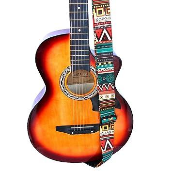 Correa Guitarra Electrica Correa para guitarra, soporte para cinturón de guitarra con extremos de cuero para guitarra eléctrica acústica clásica Jacquard: ...