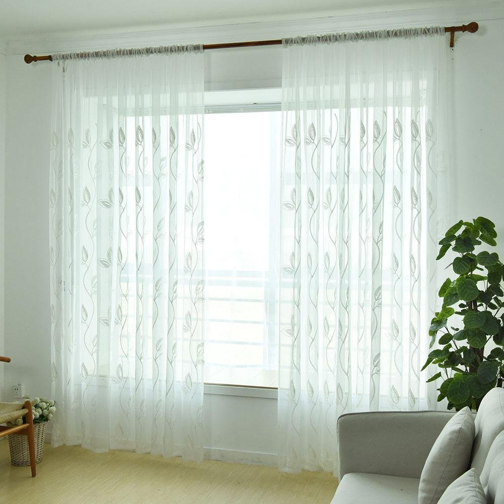 Window Screening Curtain Embroidery Leaves Tulle Sheer for Bedroom(White)