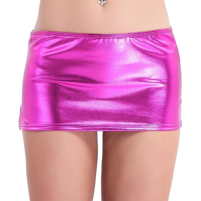 032f913b9b56 Tiaobug Damen Rock Wetlook sexy Mini Rock Skirt Figurbetont Strech ...