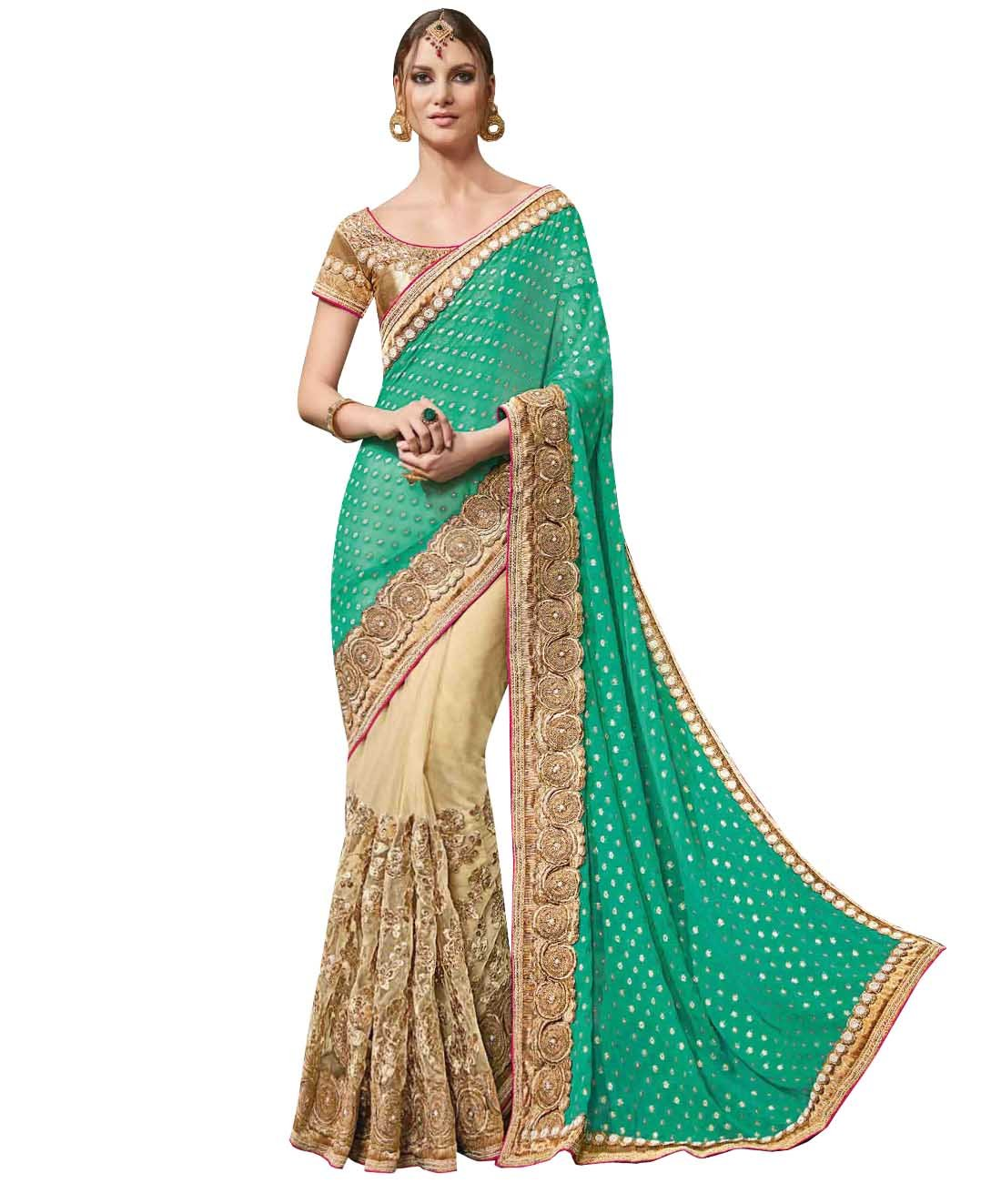 Indian Ethnic Viscose Georgette Sea Green And Beige Half And Half Saree