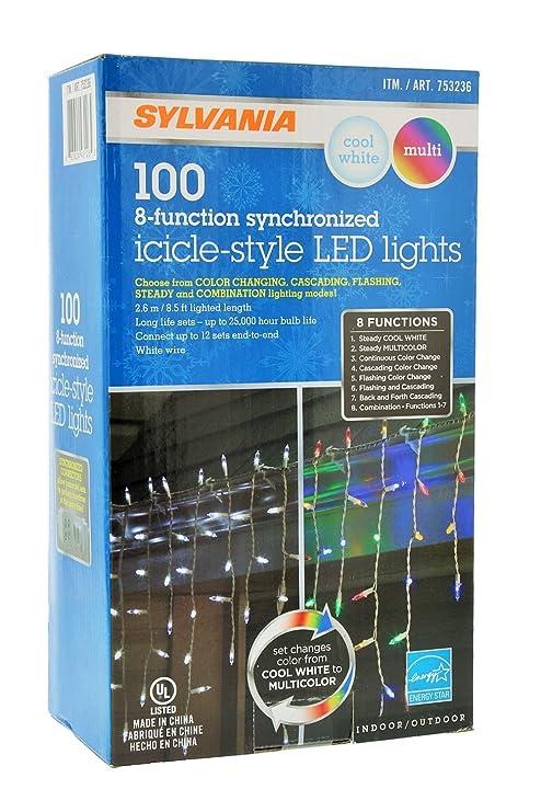 Amazon.com : Sylvania Christmas Lights 100 Icicle-Style Led Lights 8 ...