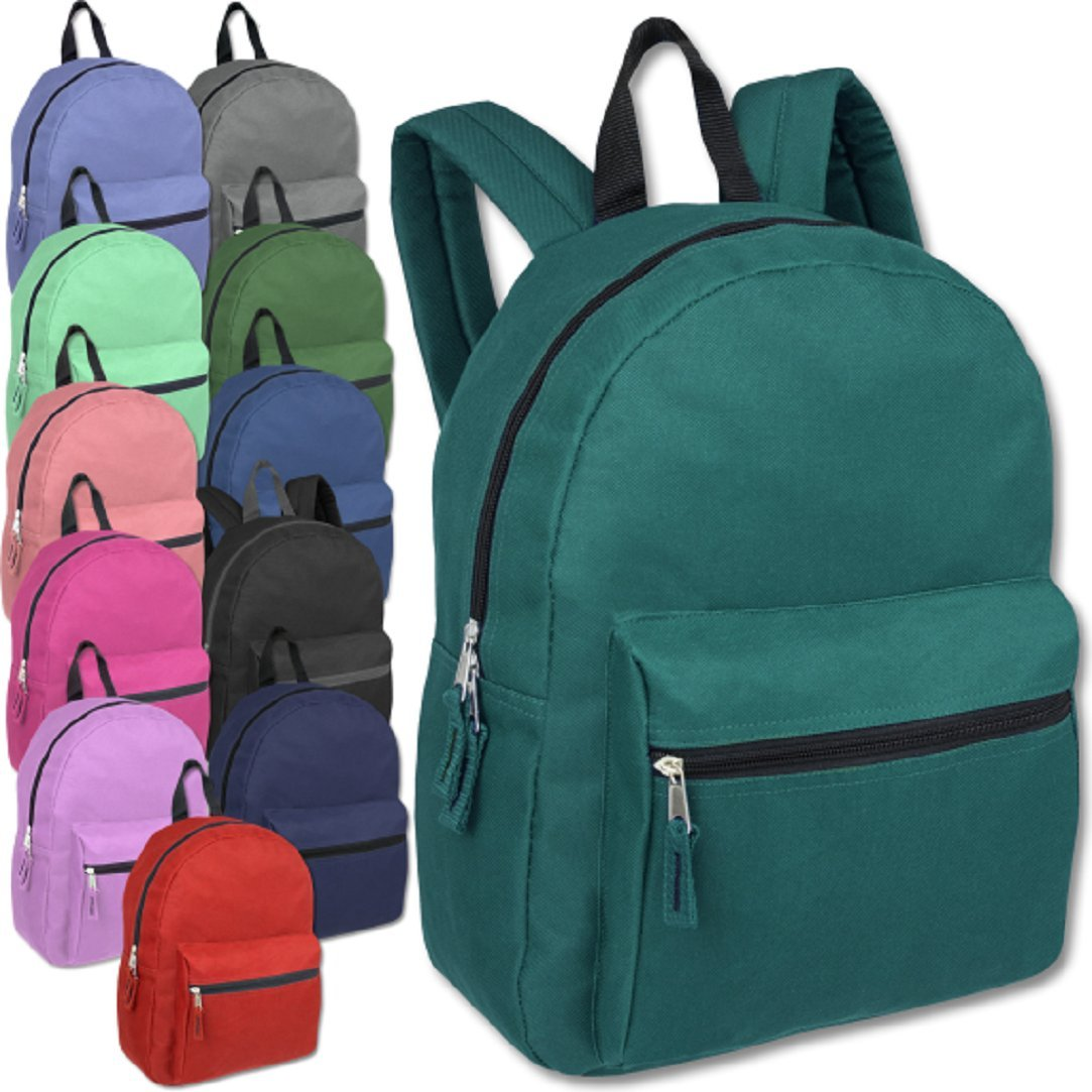 Classic 15 Inch Backpacks Bulk Wholesale Lot Case Pack 24 Back to School Supplies (12 Solid Colors)