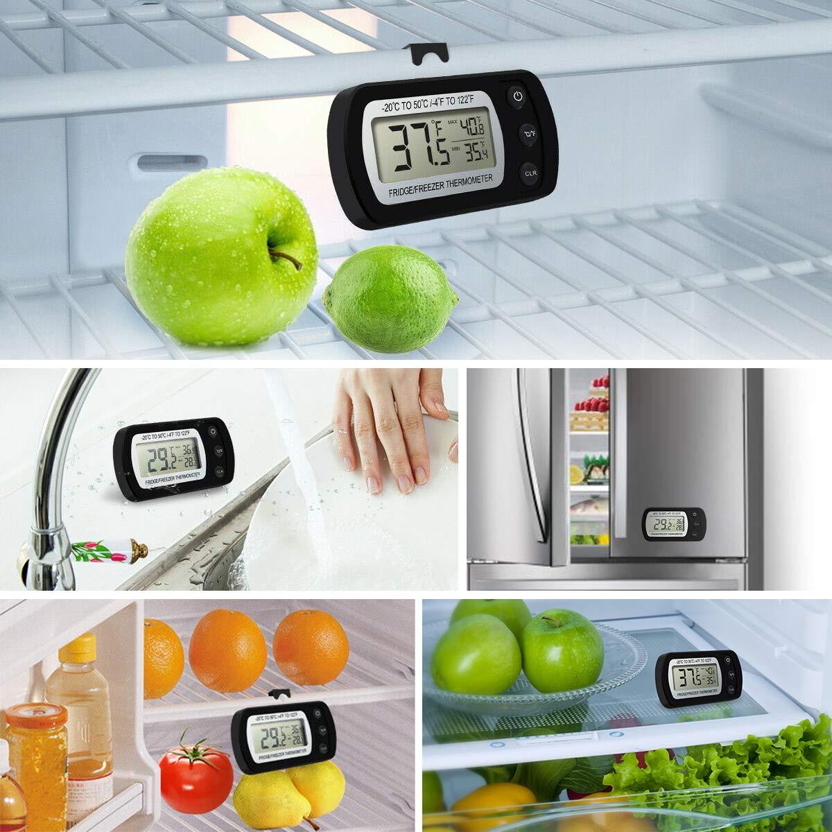 Makerfire K/ühlschrank Thermometer mit Max//Min Funktion Digitale Wasserdichte Gefrierschrank Thermometer mit Haken Gut Lesbarem LCD-Anzeige-2Pack
