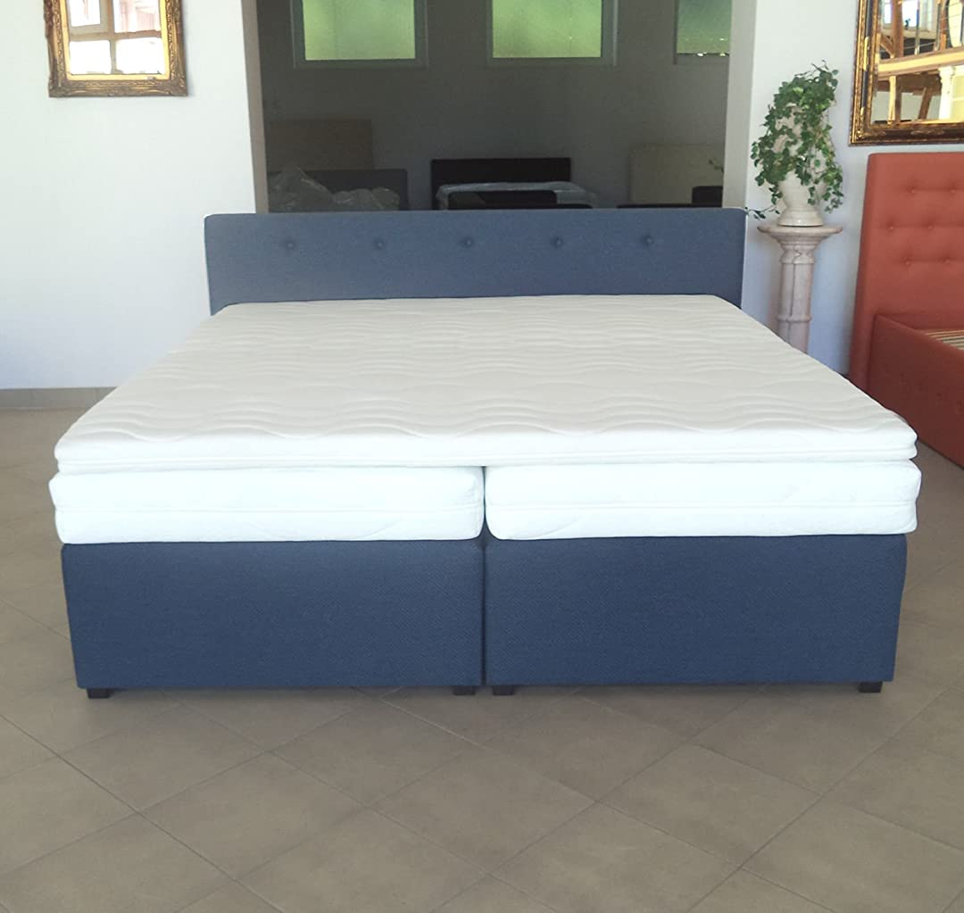 boxspringbett mit anti rutschmatten taschenfederkern matratze kaltschaum topper komplettset. Black Bedroom Furniture Sets. Home Design Ideas