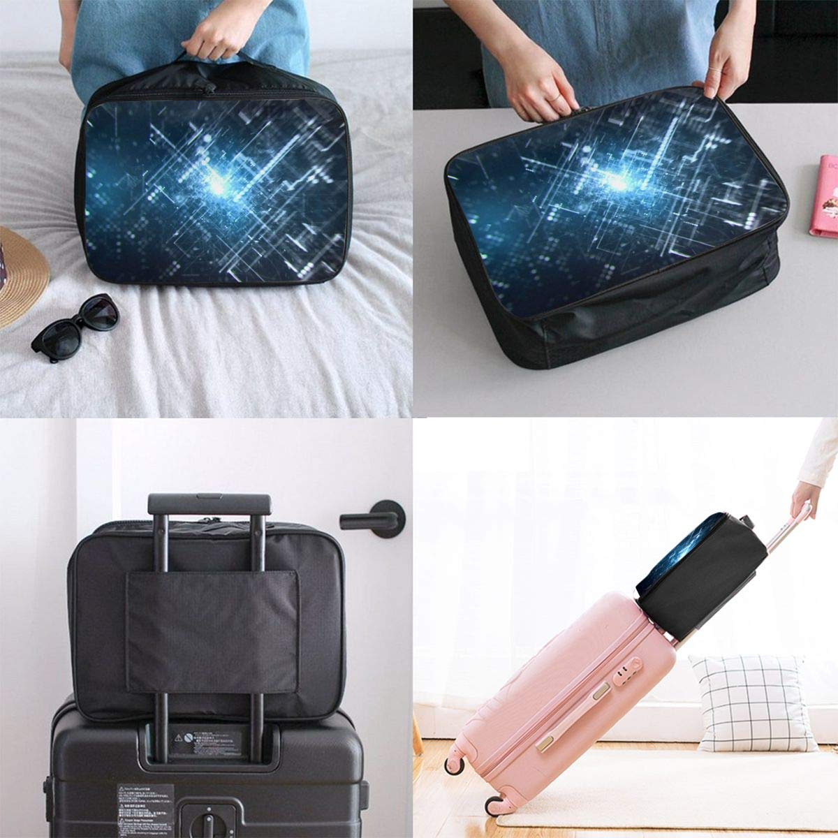 Travel Luggage Duffle Bag Lightweight Portable Handbag Information Technology Pattern Large Capacity Waterproof Foldable Storage Tote
