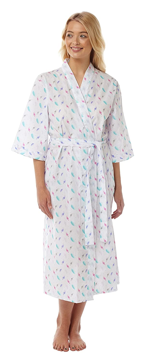 Suzy   Me Women s Lightweight Feather Print Wrapover Dressing Gown   Amazon.co.uk  Clothing e42cc6af8