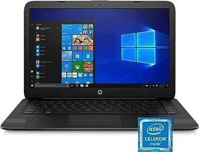 HP Stream 14-Inch Laptop, Intel Celeron N4000, 4 GB RAM, 64 GB eMMC, Windows 10 Home in S Mode (14-cb159nr, Jet Black)