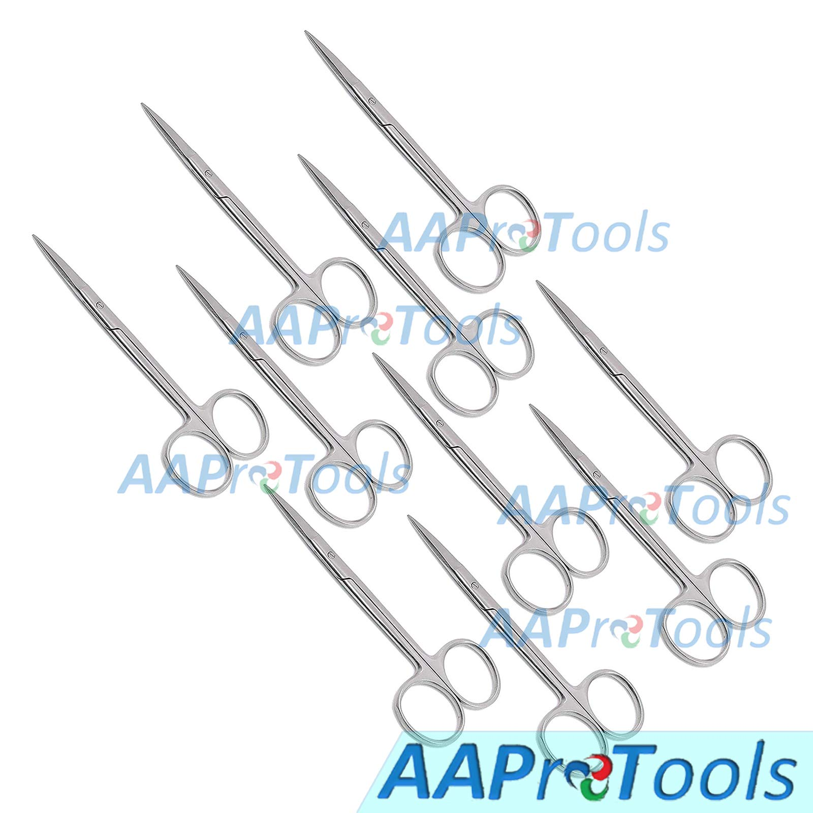 AAProTools Iris Micro Lab Sharp Scissors, 4.5'' (11.43cm) Fine Point Straight, Stainless Steel (Pack of 10) by AAProTools