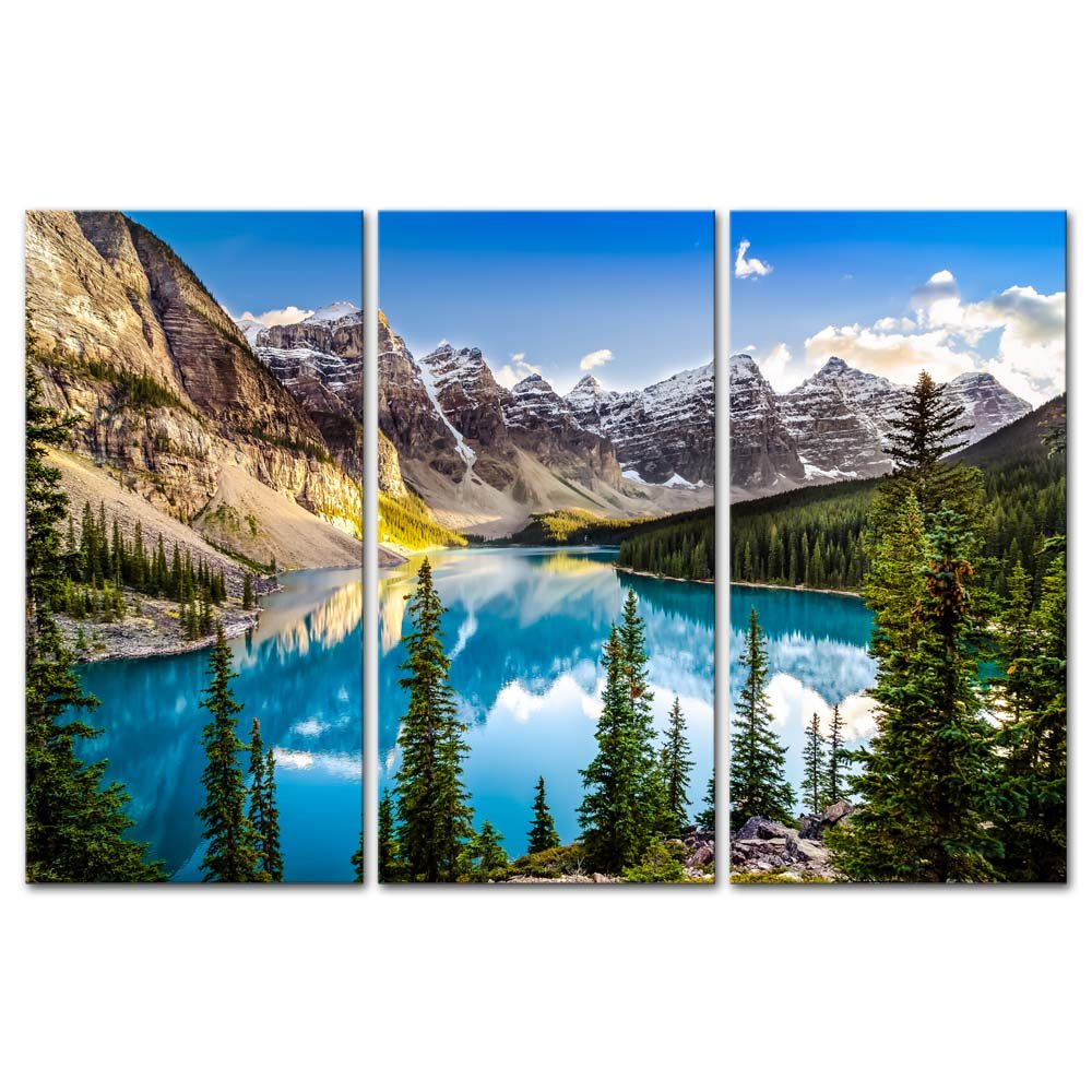 Amazon 3 Pieces Modern Canvas Painting Wall Art For Home Decoration Morain Lake And Mountain Range Alberta Canada Landscape MountainLake Print On