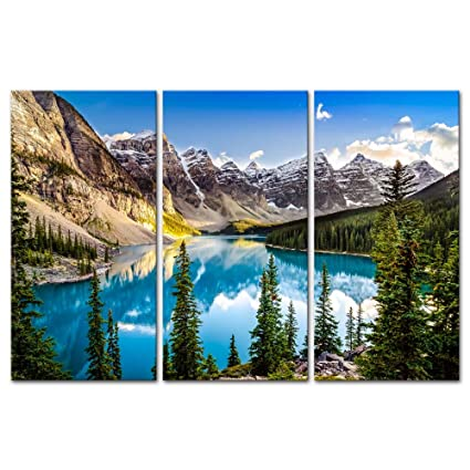 3 Pieces Modern Canvas Painting Wall Art For Home Decoration Morain Lake And Mountain Range Alberta