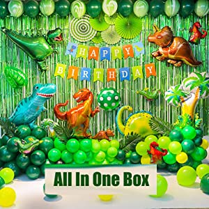 Dinosaur Birthday Party Decoration Set, 92 Pcs Set With Dinosaur Themed Party Favors Include Dinosaurs Balloons, Happy Birthday Banner,Backdrop,Paper Fan,Curtains,Pump Perfect For Your Kid's Party