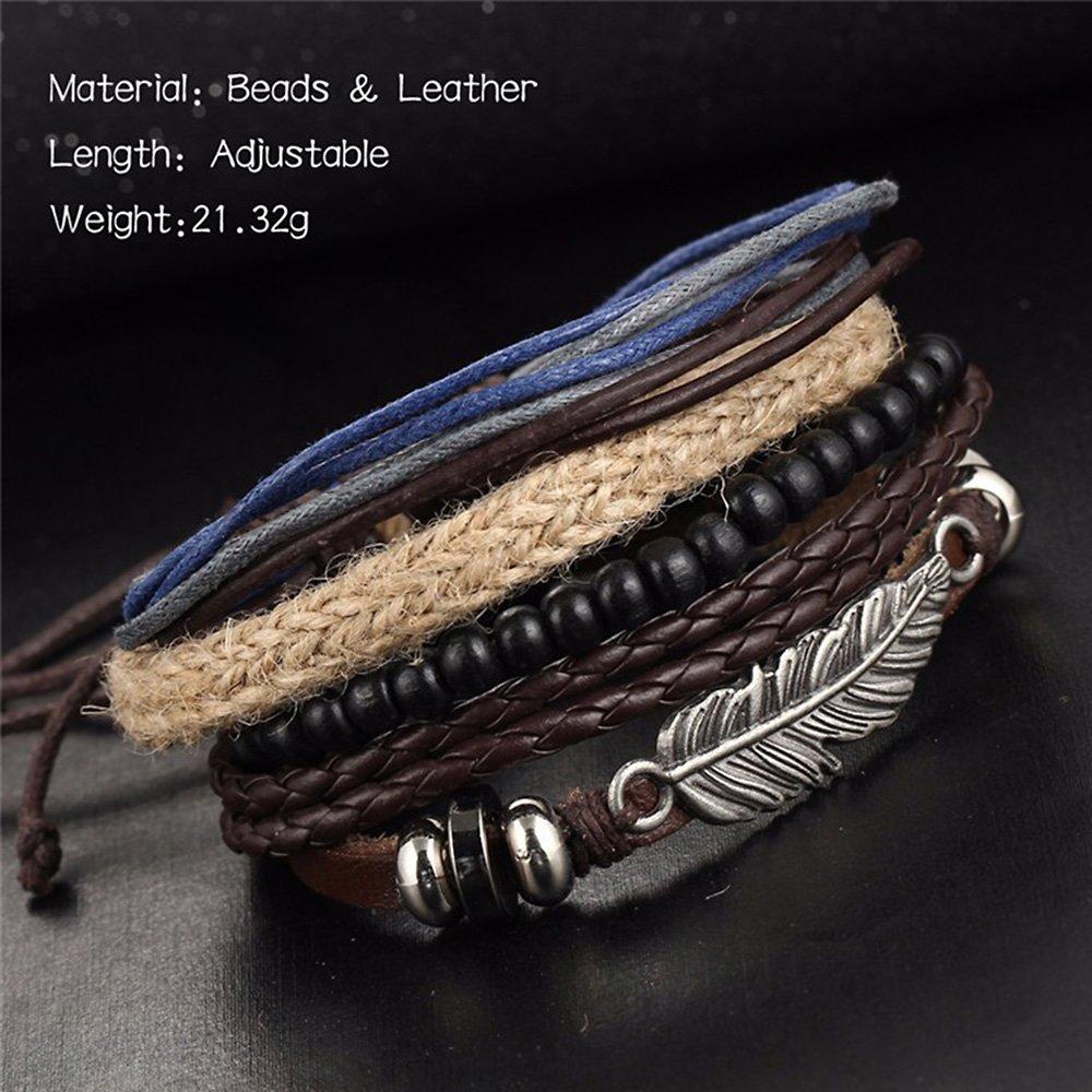 Alloy Leather Bracelet Bangle Cuff Silver Tone Black Brown Feather Adjustable Men Women MINGHUA