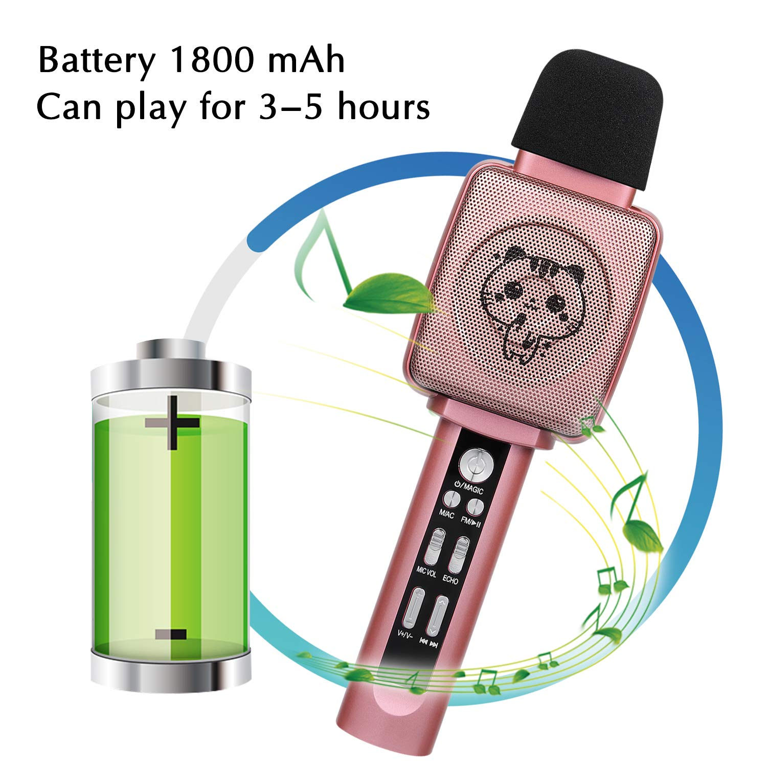 HOKLAN Kids Karaoke Microphone, Birthday Gifts for 3 4 5 6 7 8 9 Years Old Kids Girls, Birthday Presents & Toys for Children, Handheld Bluetooth Karaoke Machine with Voice Changer & Built-in Speaker by HOKLAN (Image #5)