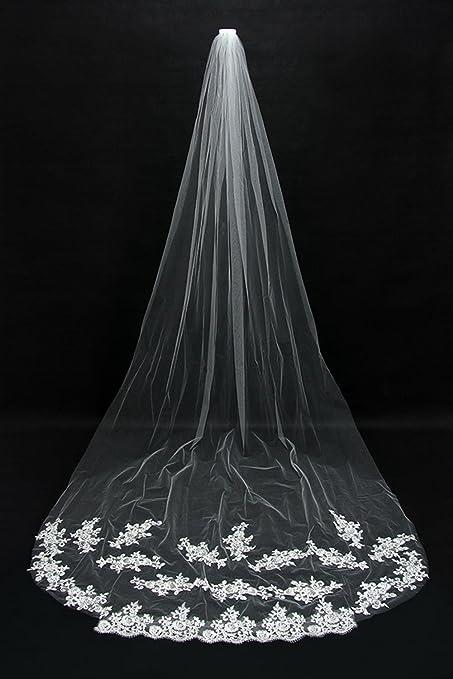 f30a12c8b7c7 Ei iLI Elegante velo da sposa da sposa velo lungo 3 metri file di  Cattedrale coda lunga