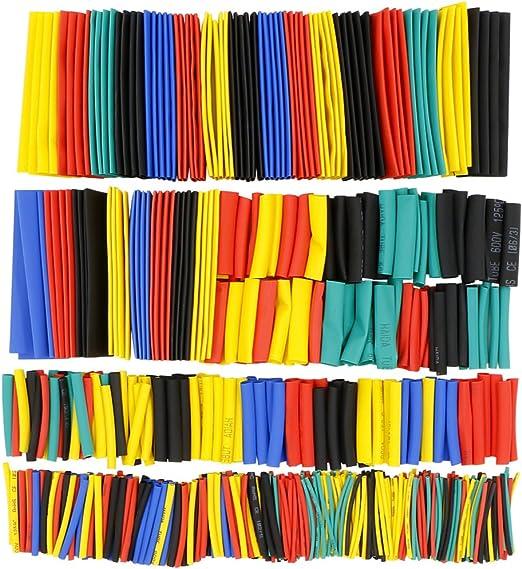 8 Tamaños 328Pcs Set 2:1 poliolefina Calor Shrink Tubo de envolver Envoltura de cable de alambre de tubo