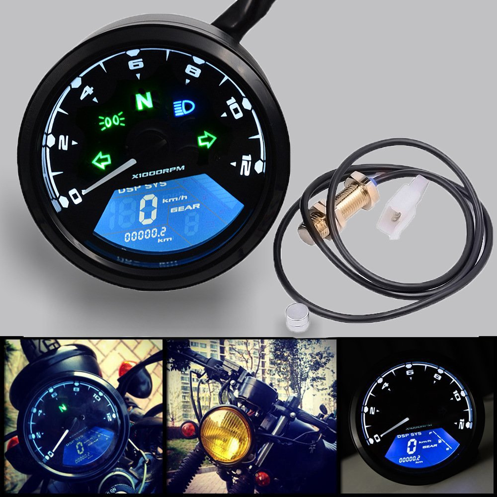 Motorcycle Modified Instrument Speedometer, Odometer Tachometer 199 Kmh for Honda Motorcycle Motorbike 1,2,4 Cylinders by Mrcartool