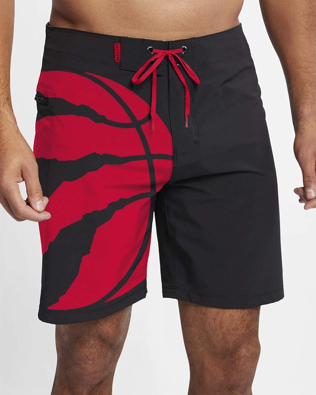 Large Toronto Raptors Mens Black and Red Swim Shorts