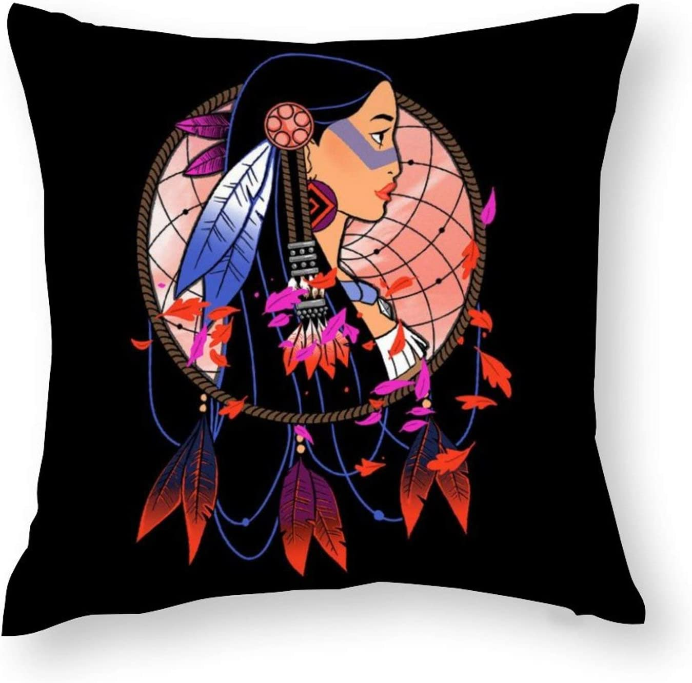 Suklly Pocahontas Colours of The Wind Pillowcase, Hidden Zipper Pillowcase, Home Sofa Decoration 18x18 inch Double-Sided Design Printed Pillowcase