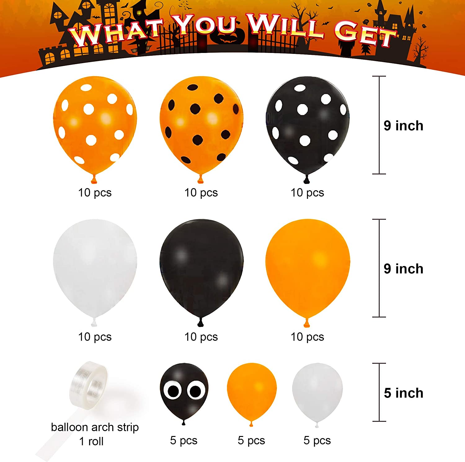 Halloween Garland Decorations Black and Orange Balloons White Balloons Total 91PCS Decorlife Orange and Black Balloons Arch Kit Balloon Strip Tape Included
