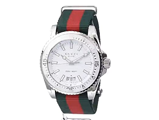 Amazon.com: Gucci Dive Stainless Steel Watch with Striped Nylon Mens Band(Model:YA136207): Watches
