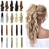 """Qunlinta Hair Extensions Ponytail 18"""" 20"""" Claw Curly Wavy Straight Clip in Hair Extensions Synthetic Hairpiece Ash…"""