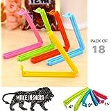 Ruff Plastic Food Snack Pouch Clip Sealer (Multicolour, 18 Pc 3 Different Size)