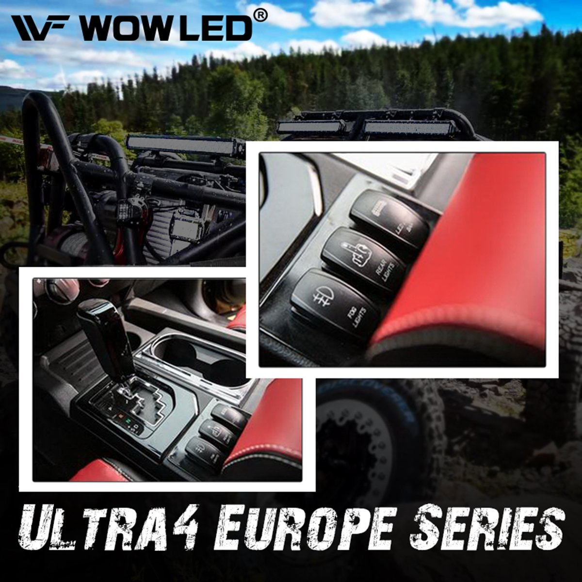 WOWLED Waterproof LED Illuminated Backlit Rocker Switch Light Bar for Car Truck 4X4 SUV Boat
