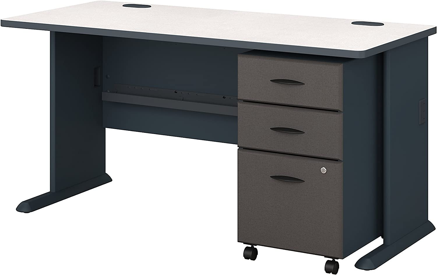 Bush Business Furniture Series A 60W Desk with Mobile File Cabinet in Slate and White Spectrum