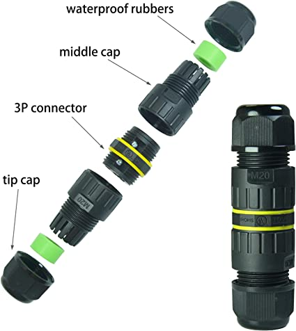 Details about  /M20 20A IP68 Waterproof Outdoor Seal Cable Connector Straight Junction Bo