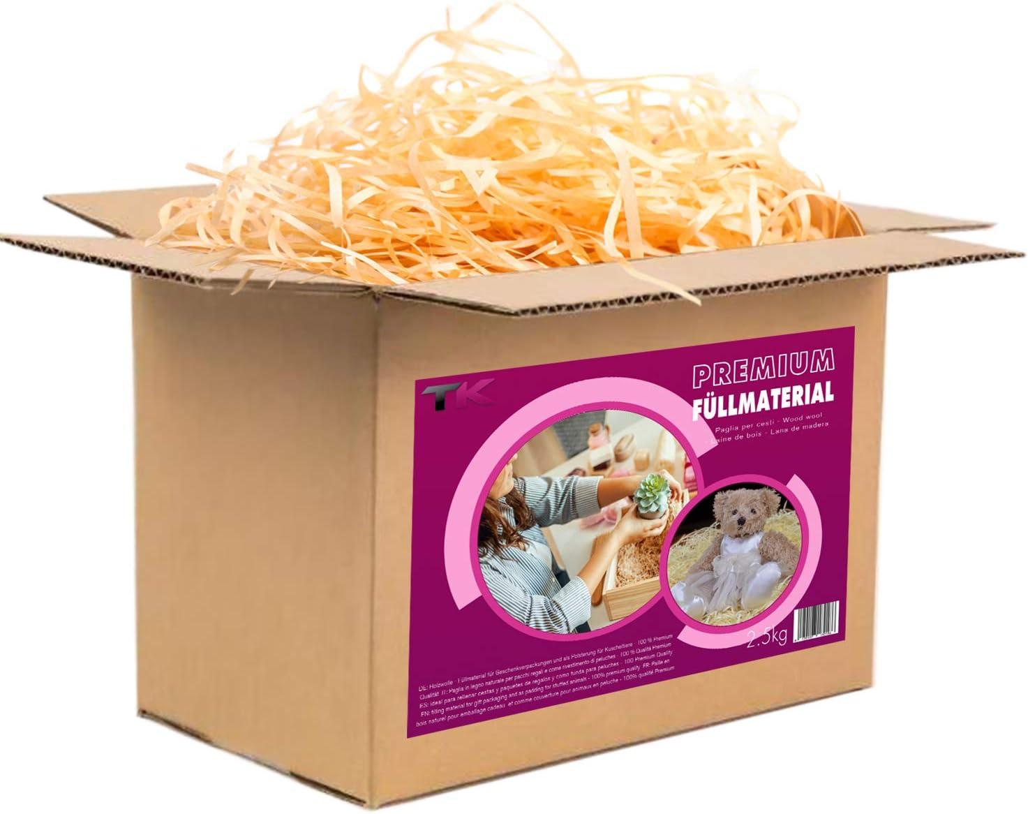 Virutas de madera ideal como material de relleno para embalaje - Paja decorativa para cestas y paquetes de regalos (2,5 kg)