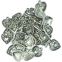 Prettyia 50pcs Alloy Hollow Heart Glue On Bails Pendant Necklace Jewelry Making Craft