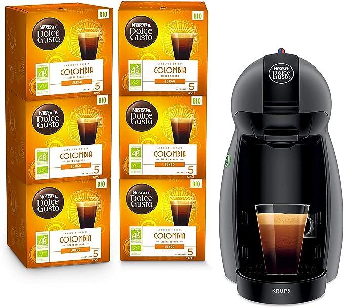 Krups Nescafé Dolce Gusto Piccolo antracita y 6 cajas de café ecológicas Colombia - Cafetera de cápsulas multiusos, Máquina de café para bebidas frías o calientes Y4099FD: Amazon.es: Hogar
