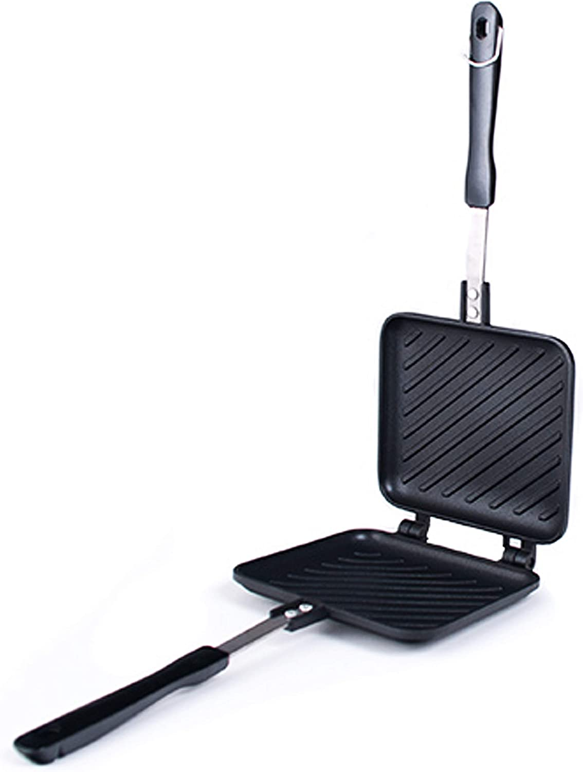 Happy Sales HSGS-HPNI, Grilled Sandwich Panini Maker Hot Sandwich Maker Pan Nonstick Aluminum Flip Pan