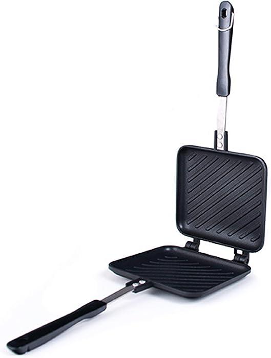 Happy Sales HSGS-HPNI, Grilled Sandwich Panini Maker Hot Sandwich Maker Pan Nonstick Aluminum Flip Pan