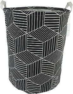 """19.7"""" Large Sized Waterproof Coating Ramie Cotton Fabric Folding Laundry Hamper Bucket Cylindric Burlap Canvas Storage Basket with Stylish Geometry Design (Black)"""