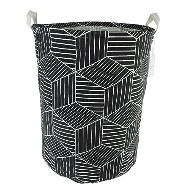 19.7  Large Sized Waterproof Coating Ramie Cotton Fabric Folding Laundry Hamper Bucket Cylindric Burlap Canvas Storage Basket with Stylish Geometry Design (Black)