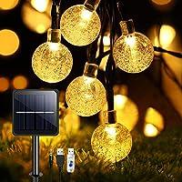 Guirnaldas Luces Exterior Solar, TOPYIYI 50LED 8M Luces Solares Led Exterior Jardin con USB Recargable, 8 Modos…