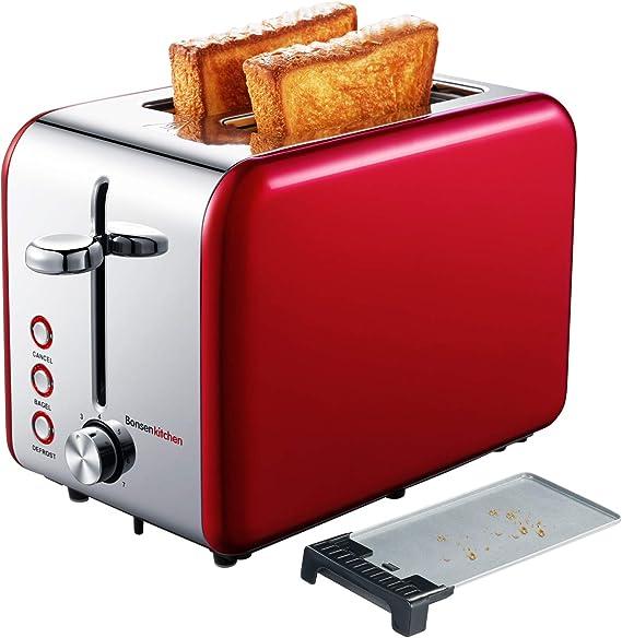 Bonsenkitchen 2 Slice Red Toaster
