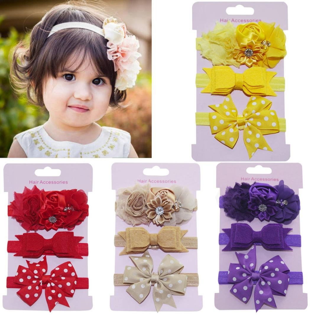 Lurryly 2018 Baby Girls'3-Pack Kids Elastic Floral Headband Hair Princess Accessories Bowknot Hairband Set (0-5 Years, Light Purple) by Lurryly (Image #3)