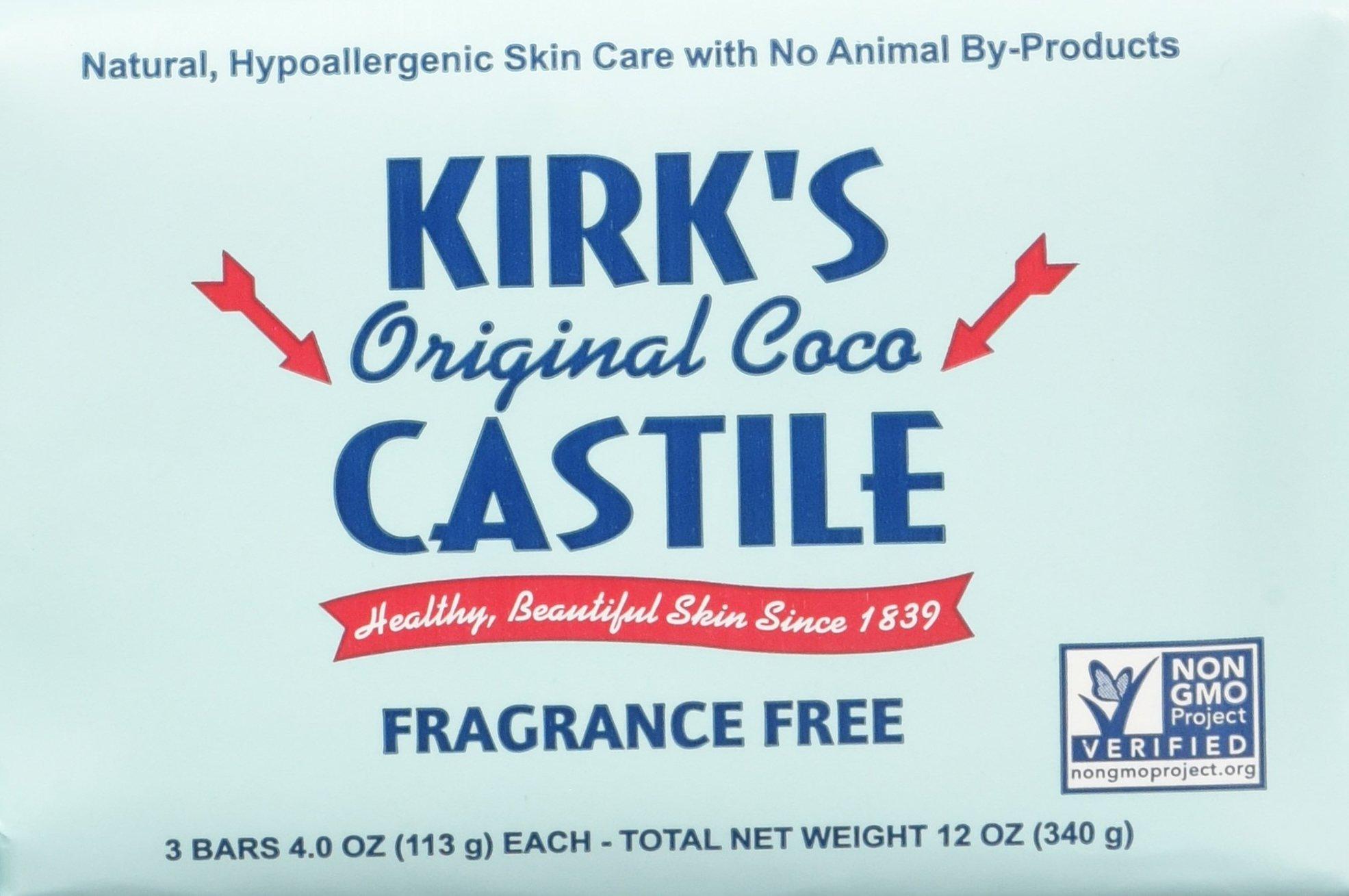 Kirk's Fragrance Free Castile Bar Soap (3 Pack)