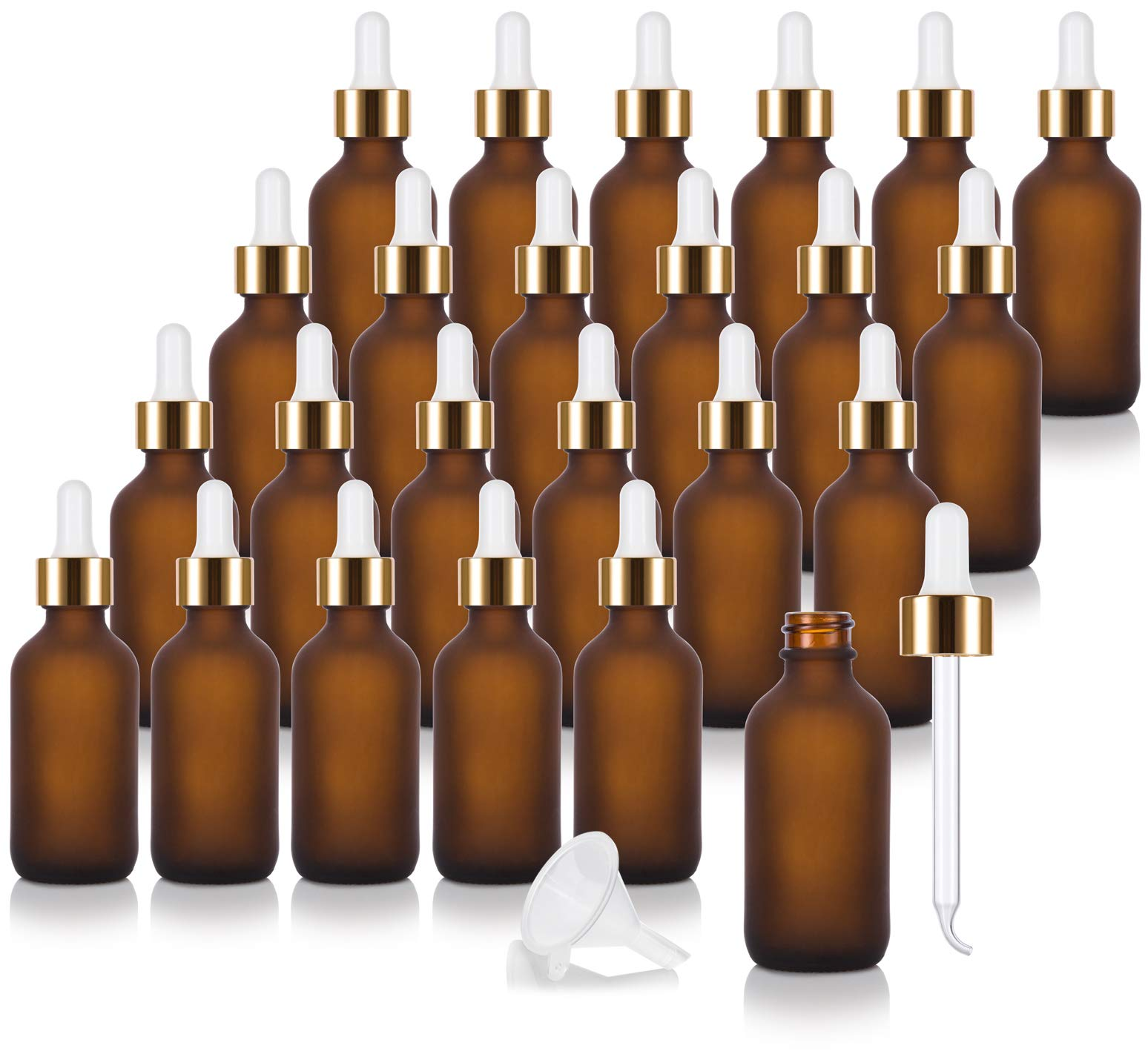 2 oz Frosted Amber Glass Boston Round Bottle with Gold Metal and Glass Dropper (24 pack) + Funnel for Essential oils, Aromatherapy, E-liquid, Food grade, BPA free2 by JUVITUS