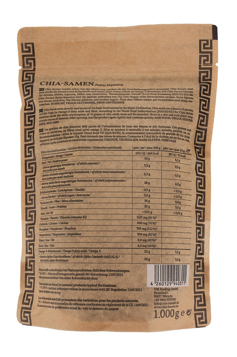 Semillas de Chia 1 kg ⭐ Alta en proteínas ⭐ Apto para Veganos: Amazon.es: Alimentación y bebidas