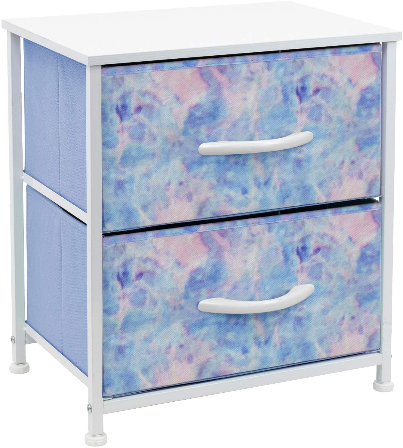 Sorbus Nightstand with 2 Drawers - Bedside Furniture & Accent End Table Chest for Home, Bedroom Accessories, Office, College Dorm, Steel Frame, Wood Top, Easy Pull Fabric Bins (Pastel Tie-dye)