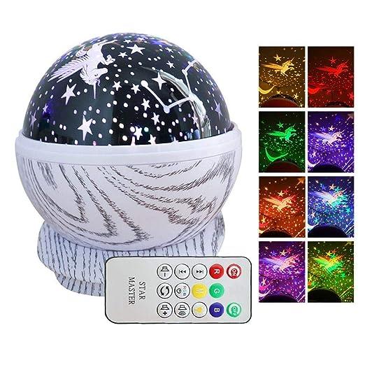 Volwco Proyector de luz Nocturna Musical con Estrellas, rotación de 360°, lámpara de Estrella para guardería con Mando a Distancia, 8 melodías para ...