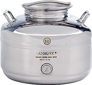 Sansone Stainless Steel Water Dispenser with Spigot, 2.64 gallon, 10 Liter, Silver