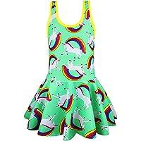KuKiee Girls One Piece Rainbow Unicorn Swimsuit Stars Print Swimwear Bathing Suit